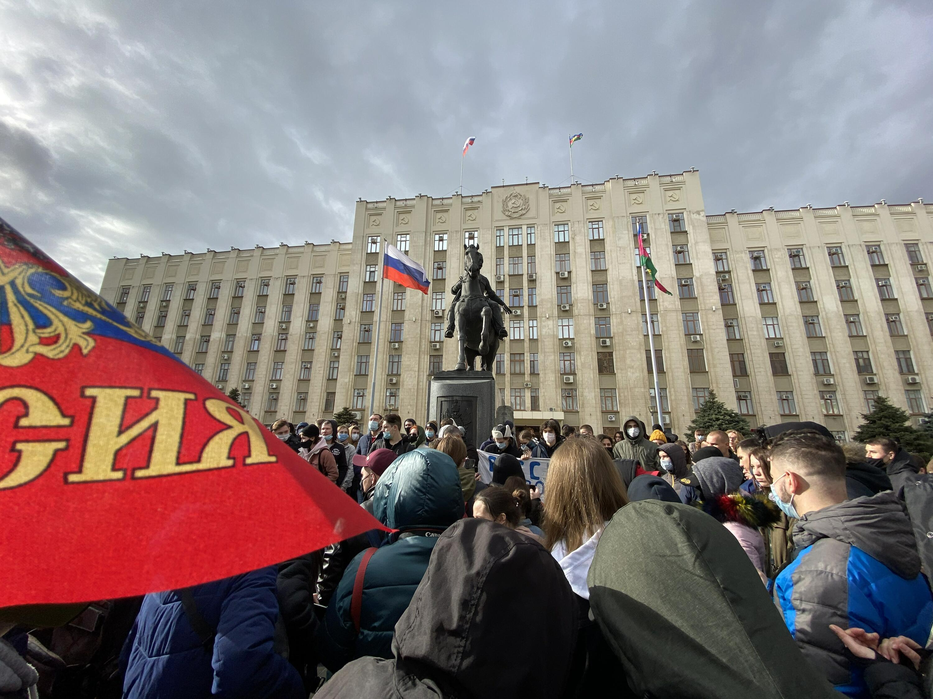 Protests in support of Alexei Navalny and political prisoners, 01/31/2021, Krasnodar. Russia. Source: WikiCommons.